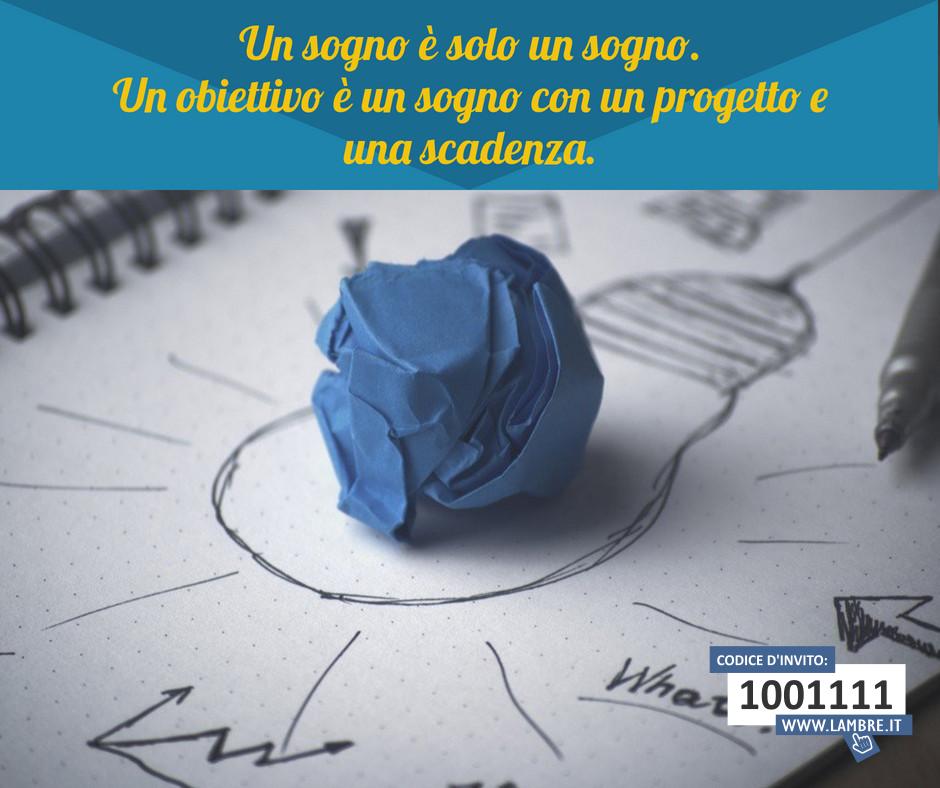 Un obiettivo è un sogno con un progetto e una scadenza.